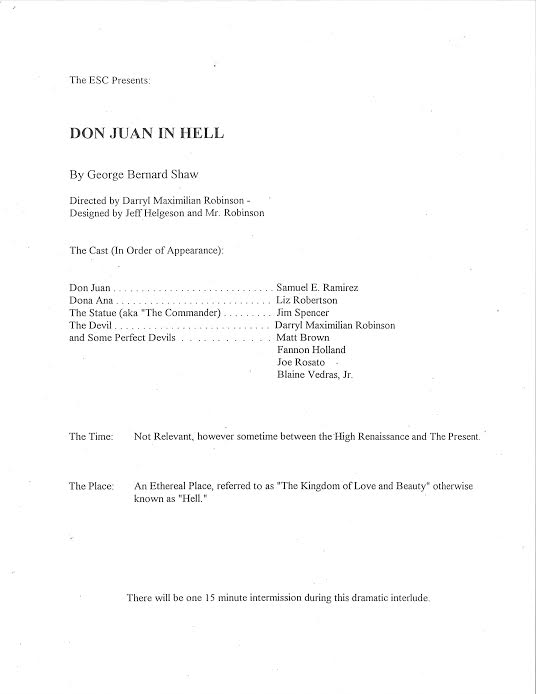 Don Juan In Hell playbill cast list.