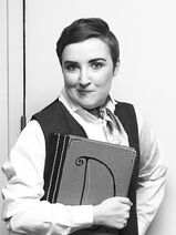 Sophie Duntley as Jemima Throttle, Stage Manager of The Music Theatre Royale in The Mystery of Edwin Drood