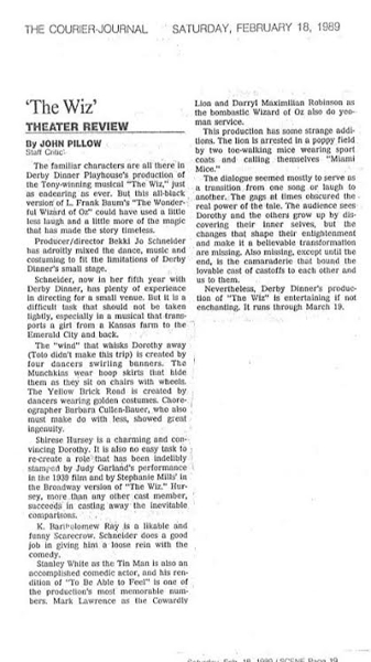 Feb. 18, 1989 Courier-Journal Theatre Review of Shirese Hursey and Darryl Maximilian Robinson in Derby Dinner Playhouse's The Wiz by John Pillow.