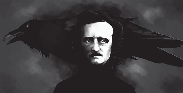 Edgar Allan Poe shawdowed by The Raven.