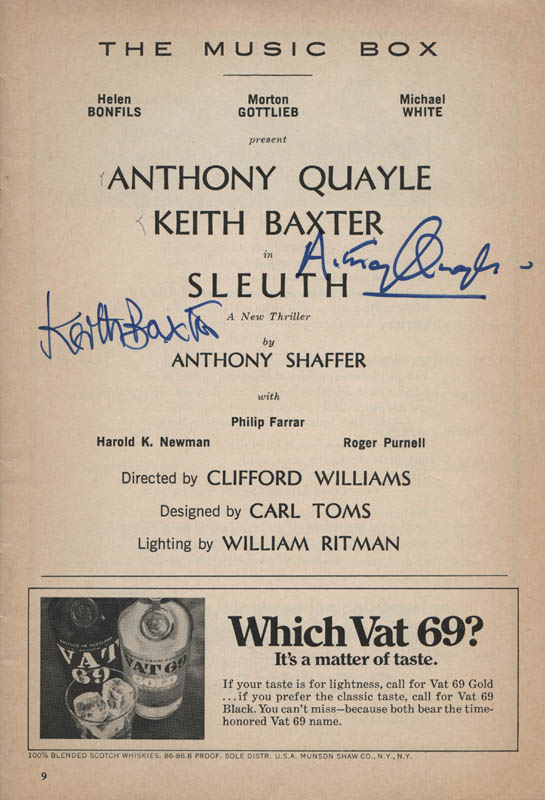 Autographed program of Anthony Quayle and Keith Baxter in SLEUTH on Broadway.