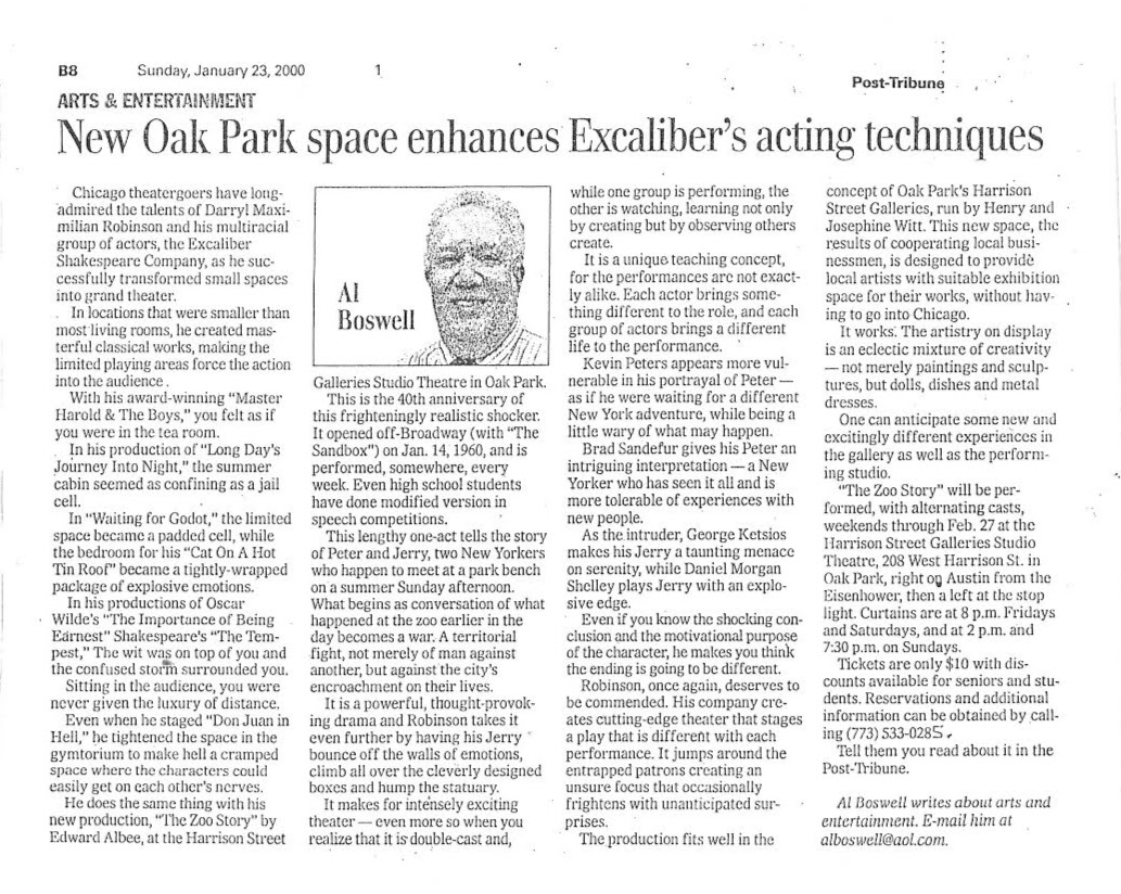 Al Boswell's Ja. 2000 Post-Tribune of Indiana feature story and review of The Excaliber Shakespeare Company of Chicago revival of Edward Albee's The Zoo Story in Oak Park.