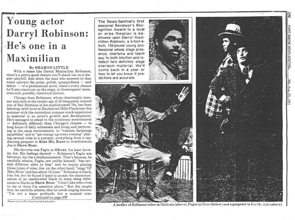 Part One of Darryl Maximilian Robinson's 1981 Fort Wayne News-Sentinel Reviewer's Recognition Award article as Outstanding Thespian of the Season for his performance as Fagin in Oliver! at Enchanted Hills Playhouse.