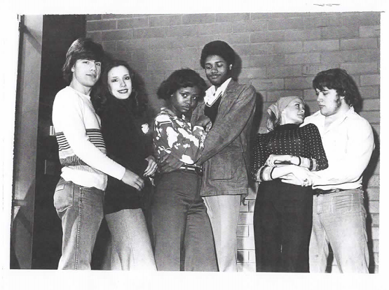 Mark Gizel, Kathy Klages, Tonya Pinkens, Darryl Maximilian Robinson, Karen Corboy and Jeff Sefton in the 1977 Chicagoland High School Theatrical Troupe production of Guys and Dolls.