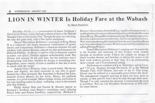 Excaliber Productions Ltd theatre review of the 1993 production of The Lion In Winter at The Wabash Triangle Cafe (1)