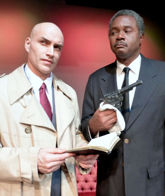 Excaliber Shakespeare Company of Chicago Founder Daryl Maximilian Robinson as Inspector Colquhoun of Scotland Yard ( right ) and Doug Mattingly as his assistant Detective Sgt. Penny in The Hollow