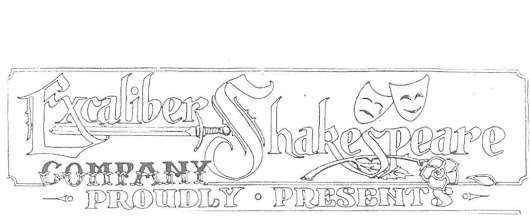 Logo of The Excaliber Shakespeare Company of Chicago designed in 1995 by Tony Hrubes