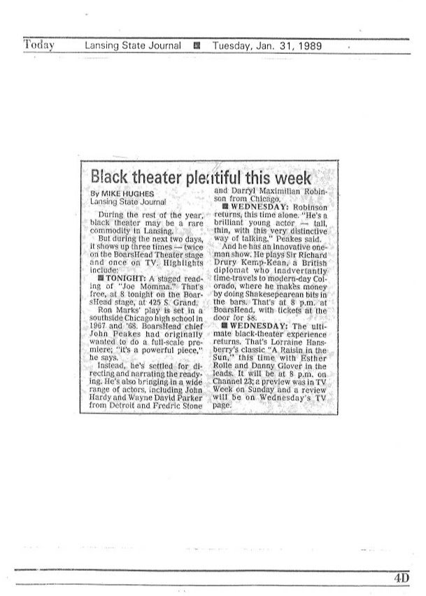 Mike Hughes' Jan. 1989 Lansing State Journal entertainment feature on Darryl Maximilian Robinson in Joe Mama and A Bit of the Bard at The Boarshead Theatre of