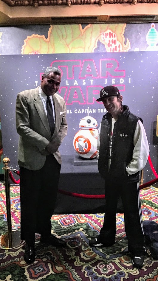 Actors Darryl Maximilian Robinson and Danny Belrose attended a Jan. 2018 screening of the hit film STAR WARS, THE LAST JEDI at the historic El Capitan Theatre in Hollywood.