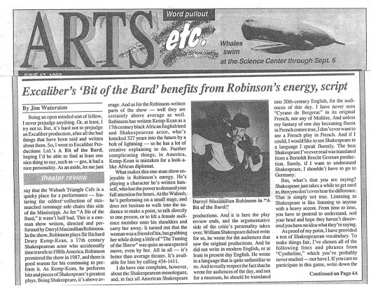 Jim Waterston's June 1993 West End Word of St Louis review of Darryl Maximilian Robinson in A Bit of the Bard at The Wabash Triangle Cafe