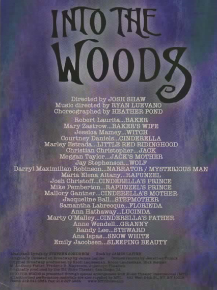 The Burbank Community Theatre Into The Woods Cast and Crew List