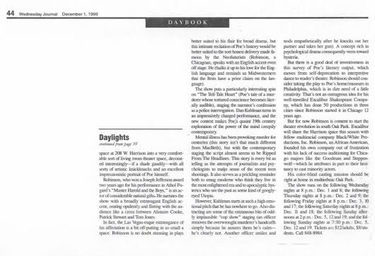 Part Two of Arts Reporter Darryl Cater's Dec. 1, 1999 Wednesday Journal of Oak Park Feature Story and Review of Excaliber Shakespeare Company of Chicago's The Raven and Six Other Points of Interest.
