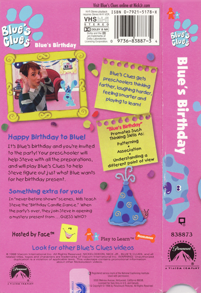 All About Amazoncom Blues Clues Blues Birthday Vhs Steve Kidskunst