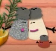 Mrs Pepper hugging Mr Salt