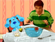 Steve and Blue with Two Apples and a Bowl Full of Water