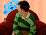 Paprika and Blue on the Thinking Chair with Steve
