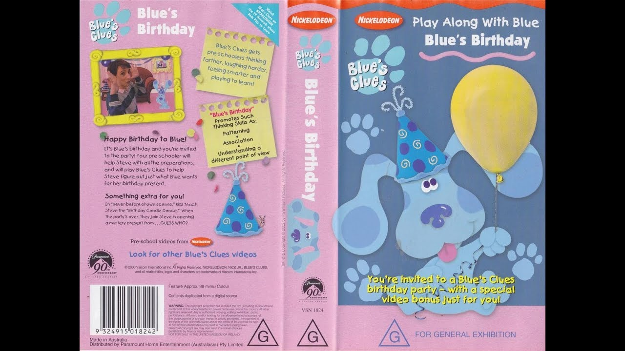 Blues Birthday Vhs Blues Clues Wiki Fandom Powered By Wikia