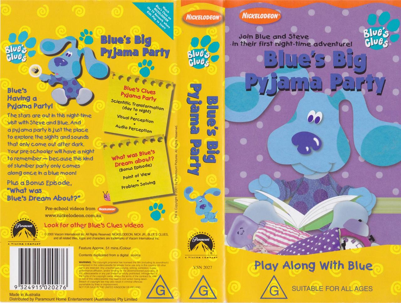 Blues Big Pajama Party Vhs Blues Clues Wiki Fandom Powered