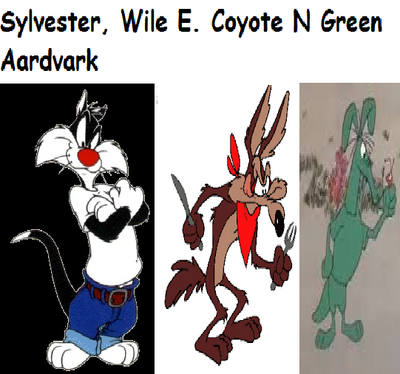 Sylvester, Wile E. Coyote N Green Aardvark