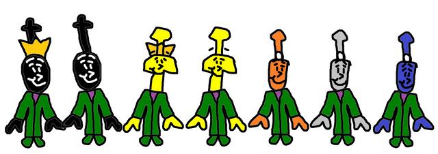 File:Donald, Douglas, Bill, Ben, Bash, Dash, and Ferdinand as The Teensies..png