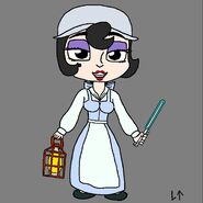 Lillie Lightship (as Belle) (with a blue lightsaber)