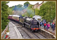 No. 825 enters Grosmont Station.