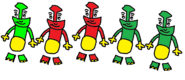 Percy, Skarloey, Rheneas, Peter Sam, and Trevor as The Globox Children.