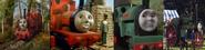 Skarloey, Rheneas, Peter Sam, and Trevor as Globox Children