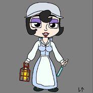 Lillie Lightship (as Belle) (with a light blue lightsaber)