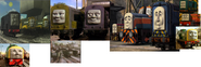 Diesel, Arry, Bert, Splatter, Dodge, Den, Dart, Norman, Paxton, Sidney, D261, Derek, and Troublesome Trucks