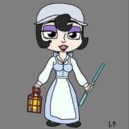 Lillie Lightship (as Belle) (with a double bladed blue lightsaber)