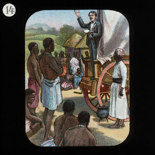Preaching from a Waggon (David Livingstone) by The London Missionary Society