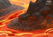 614 Concept art of the Mustafar mining town outskirts