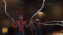 Spider-Man and Kid Arachnid fight