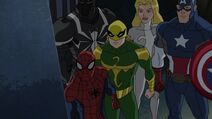 Spider-Man and his friends looks at the Oscorp