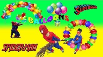 Learn Colors with Balloons for Children, Toddlers and Babies, Spiderman and Superman Learn Colors