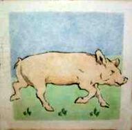 Pig Dunsmore Tiles Polly Brace c1930 Minton Blank