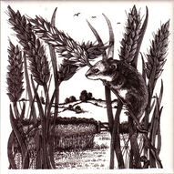 Fieldmouse from Small British Mammals series designed by Geoff Mead for Dorincourt Tiles Hand Screen printed c 1977