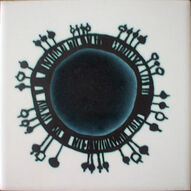 1965 ANN WYNN REEVES (KENNETH CLARK STUDIOS) POTTERY TILE - HAND SCREEN -PRINTED