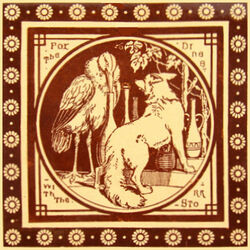 Aesop's Fables - The Fox Dines with the Stork - Minton China Works 8in