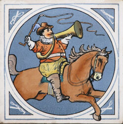 Minton Hollins & Co. - Humourous Hunting Scenes - Hunter on Horseback - 8inch