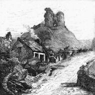 Criccieth Castle greyscale