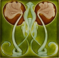 Art Nouveau Richards majolica tile c.1903