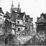 Boppart on the Rhine grey scale