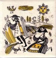 Alpine Peasants series designed by E W Pritchard for Dorincourt Tiles Hand Screen printed c1958