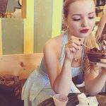 Dove eating chocolate ice cream