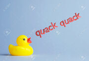 42541379-Yellow-rubber-duck-says-quack-quack-over-blue-background-Stock-Photo