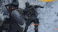 A defeated hunter in survival with black clothing and black mask