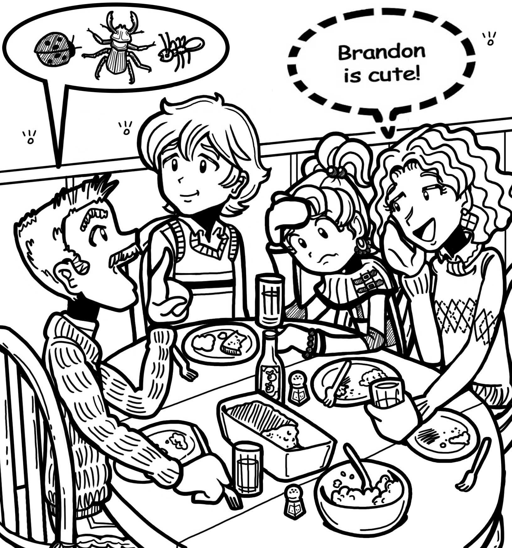Coloring pages for dork diaries - March 19 Brandon Over For Dinner Jpg