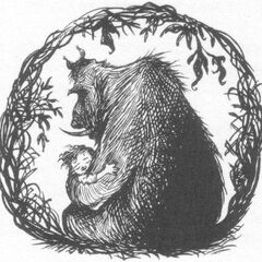 A young Rook is cradled in the protective arms of the banderbear who rescued him